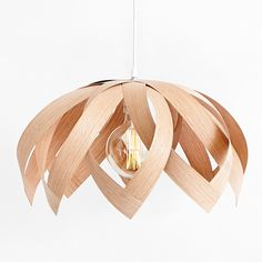 LOTUS OAK wooden veneer light by Yndlingsting made in Denmark on CROWDYHOUSE #lamp #light #lighting