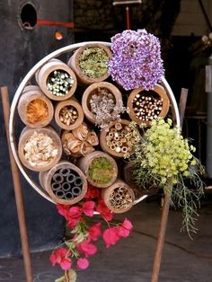 Insect hotel, for beneficial insects and native mason bees, provides habitat for pollinators.