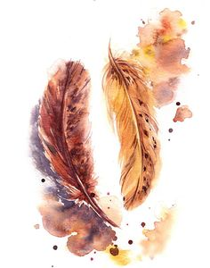 Original Painting Golden Painting Color theme: amber, golden Watercolour Art One of a Kind Art Scale: cm) Medium: top bra. Watercolor Feather, Feather Painting, Watercolor Art, Bild Gold, Feather Wall Art, Watercolor Paintings For Beginners, Arte Horror, Watercolor Illustration, Painting Inspiration