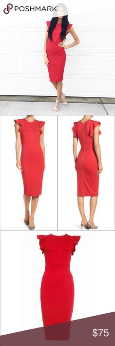 04d9e514ad73 Felicity and Coco Capriana Ruffle Sheath Red Dress Felicity and Coco  Capriana Ruffle Sheath Red Dress