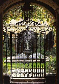 The iron gate and entrance to the Small Cloister at Westminster Abbey, London.