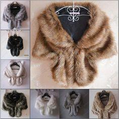 High-grade Elegant Bridal Wedding Faux Fur Long Shawl Stole Wrap Shrug Scarf NEW #new #ShawlWrap #all