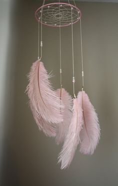 Pink Dreamcatcher Mobile Tribal Bohemian by OliviaOliverBaby