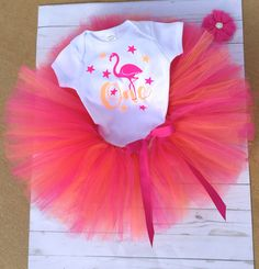 Flamingo Cake Smash Outfit/Tutu Set/Flamingo Onesie/First Birthday/One Year Old/Birthday Party/Onesie Tutu Set/Baby Girl Birthday by sunnyvilledesigns on Etsy https://www.etsy.com/listing/543393740/flamingo-cake-smash-outfittutu