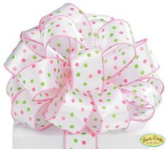 1 1/2 Pink and Green Dots on White Satin Wire