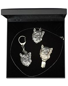 NEW, Chihuahua Longhaired, dog keyring, necklace and clipring in casket, DELUXE set, limited edition, ArtDog >>> Be sure to check out this awesome product.