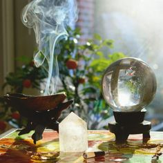 scrying with a crystal ball and burning incense