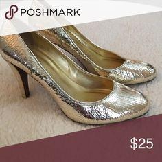 J Crew gold Dress Heels J Crew gold heels. Leather. Good condition J. Crew Shoes Heels