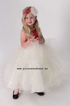 Girl Red Princess Dress CLARE with tulle skirts and flower for small and larger bridesmaids. Girls Dresses, Flower Girl Dresses, Limited Collection, Tulle Skirts, Princess Style, Dress Collection, Simple Designs, Larger, Bridesmaids