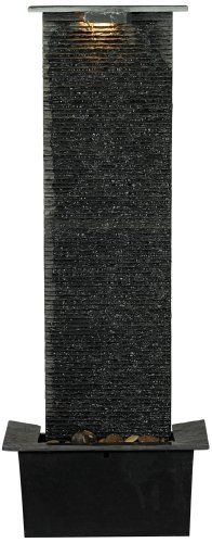 """Waterfall Slate 48"""" High Floor Fountain by Universal Lighting and Decor. $299.99. Running water offers a calming effect that's a great accent to living spaces, bedrooms and offices, too. This floor fountain is crafted with natural slate for a sophisticated look. With a tall, slender shape, it's sure to make a stylish impact anywhere. It's lighted, too, for extra visual appeal."""