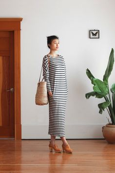 striped maxi dress, woven bucket bag & clogs #style #fashion #stripes #casual