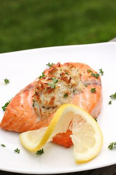 I know how you love salmon!!!    our dinner tonight, crab (and shrimp) stuffed salmon, it was delish!