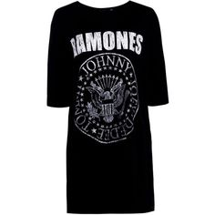 Boohoo Harley Ramones T-Shirt Dress (€17) ❤ liked on Polyvore featuring dresses, bodycon dresses, bodycon midi dress, maxi dress, t shirt maxi dress and cotton maxi dress