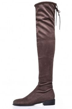 Elle Flat Over the Knee Boots in Taupe Suede Faux Fur Boots, Fashion Socks, Over The Knee Boots, Riding Boots, Taupe, Footwear, Flats, Heels