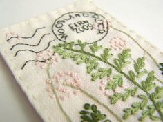 Embroidered fern postcard