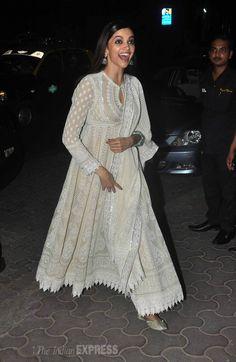 Deepika Padukone, Ranbir Kapoor's Diwali party with Imtiaz Ali Indian Gowns Dresses, Indian Fashion Dresses, Dress Indian Style, Pakistani Dresses, Indian Fashion Trends, Designer Anarkali Dresses, Designer Party Wear Dresses, Indian Wedding Outfits, Indian Outfits