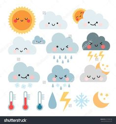 cute cartoon set with weather icons. cute weather icons set.