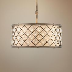 "Jeweled Golden Bronze 18 1/2"" Wide Pendant Light -"