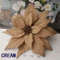 BURLAP Poinsettia flowers W/clip W/glitter Artificial flowers Christmas Tree Ornament - Best Pins Live Cheap Christmas, Burlap Christmas, Christmas Tree Ornaments, Christmas Crafts, Burlap Ornaments, Felt Christmas, Poinsettia Flower, Christmas Flowers, Christmas Poinsettia