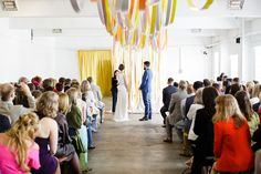 Ribbon Backdrop Ceremony Creative DIY Industrial Warehouse Wedding http://www.michellehill.ca/