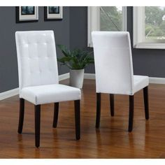 Urban Tufted Parsons Chairs in White Finish - Set of 2, Multicolor