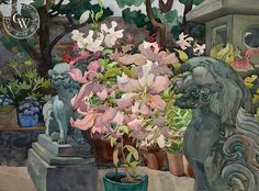 Barking Lilies, 1983, art by Carolyn Lord – California Watercolor