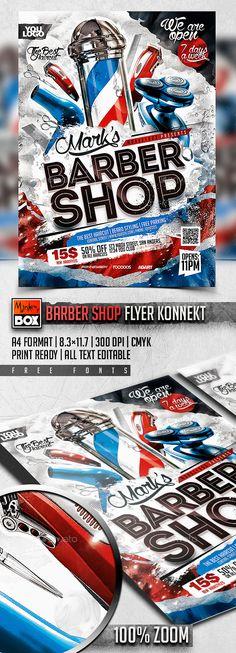 Barber Shop Flyer Konnekt Template PSD #design Download: http://graphicriver.net/item/barber-shop-flyer-konnekt/13620243?ref=ksioks