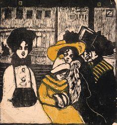 Fanny Zakucka: Tramway, um 1903. Holzschnitt in Schwarz, gelb koloriert, auf dünnem Japanpapier, 15,8 x 15 cm; Privatsammlung