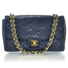 d90518039b4c This is an authentic CHANEL Vintage Lambskin Medium Flap w Detachable Pouch  in Navy. This