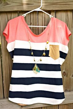 """DIY sewing tutorial Alida Makes: """"Nautical Diva"""" Color Block Shirt Tutorial Wonder if this would work with reducing plus sized clothes. Look Fashion, Diy Fashion, Ideias Fashion, Womens Fashion, Fashion Sewing, Jeans Fashion, Urban Fashion, Fashion Clothes, Latest Fashion"""