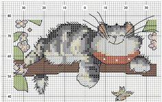 The old cat-pattern Mini Cross Stitch, Cross Stitch Animals, Cross Stitch Charts, Cross Stitch Designs, Cross Stitch Patterns, Cat Cross Stitches, Cross Stitching, Cross Stitch Embroidery, Stitch Cartoon