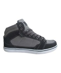 Loving this Black & Gray Contrast-Stitch Hi-Top Sneaker on #zulily! #zulilyfinds