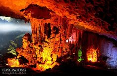 Sung Sot Cave - Halong Bay Attraction. Situated in the centre of the UNESCO-declared World Heritage area, the Sung Sot or Surprise Grotto is on Bo Hon Island, and is one of the finest and widest grottoes of Ha Long Bay. #HalongBay_Attractions