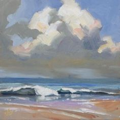 BEACH, SURF, SAND - CALIFORNIA IMPRESSIONIST PLEIN AIR PAINTING, painting by artist Tom Brown