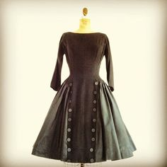 1950s Black Button Dress 50s Full Skirt Dress Wool by MetricMod, $189.00