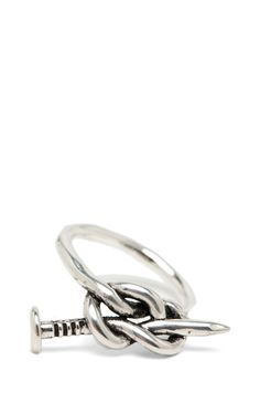 Knotted nail ring in silver