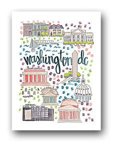 Washington DC Map Print by Evelyn Henson