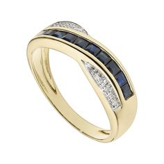 Gorgeous 9ct yellow gold diamond and sapphire cross over wedding ring now available at http://www.fraserhart.co.uk/9ct-gold-sapphire-and-diamond-ring-4.html
