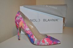 NIB $695  MANOLO BLAHNIK 8.5 BB 105 Pink Fabric Floral Pointy Toe Pump Shoe 38.5 #ManoloBlahnik #PumpsClassics