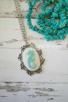 Mint Blue Seahorse Cross Stitch Necklace от PINKBLUEART на Etsy