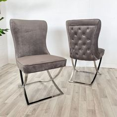 Luxury Grey Fabric Dining Chair upholstered with a thick button back seat, giving you extra comfort. Grey Dining Room Furniture comes with Free UK Delivery! Grey Dining Room Furniture, Gray Dining Chairs, Fabric Dining Chairs, Leather Dining Chairs, Upholstered Dining Chairs, Celine, Reclaimed Wood Dining Table, Grey Fabric, Free Uk
