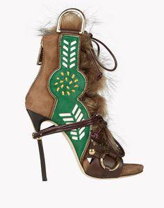 Dsquared2 olive green, green and khaki fur embellished sandal