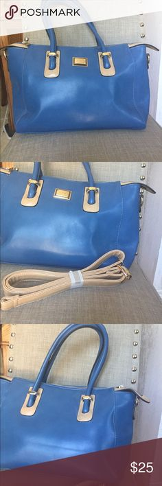 """Satchel Pretty cornflower blue satchel with removable shoulder strap.  Tan accent colors make this a bag that can go with any of your outfits.  Faux leather.  Never used.  Approx 17"""" x 10"""" x 6"""". Bags Satchels"""