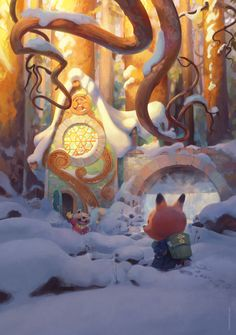 Awww...the Mailman of The Forest gives us a warm glow like a glass of mulled wine! Super cute #art by Tuomas Korpi