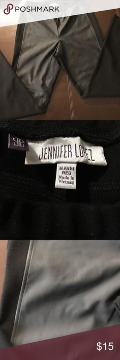 Jennifer Lopez stretch pants Faux leather in the front and stretch in the back make for a comfortable fit. Great for women who luv the leather look but not the cost or comfort. Jennifer Lopez Pants Leggings