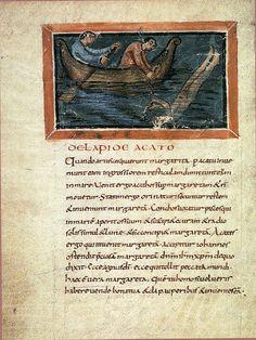 Catching of pearls, Bern Physiologus (IX century)