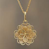 Gold plated filigree flower necklace, 'Yellow Rose' - Gold Plated Silver Peruvian Filigree F Silver Pendant Necklace, Gold Pendant, Silver Necklaces, Pendant Jewelry, Silver Earrings, Filigree Jewelry, Rose Gold Jewelry, Silver Filigree, Silver Ring
