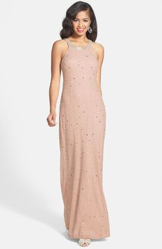 Adrianna Papell 'Caviar' Illusion Back Beaded Gown
