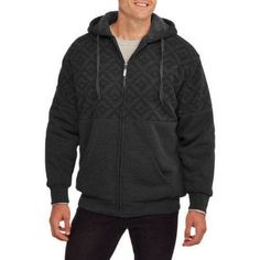 Climate Concepts Men's Print Fleece Sherpa Hoodie, Size: Small, Black