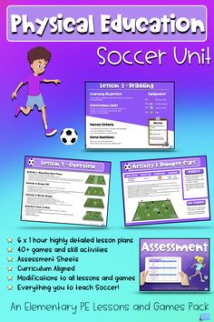This soccer unit includes games and highly detailed lesson plans that you and your students will love. Physical Education Activities, Elementary Physical Education, Elementary Pe, Health Education, Classroom Activities, Middle School Activities, School Resources, Teacher Resources, Pe Lessons
